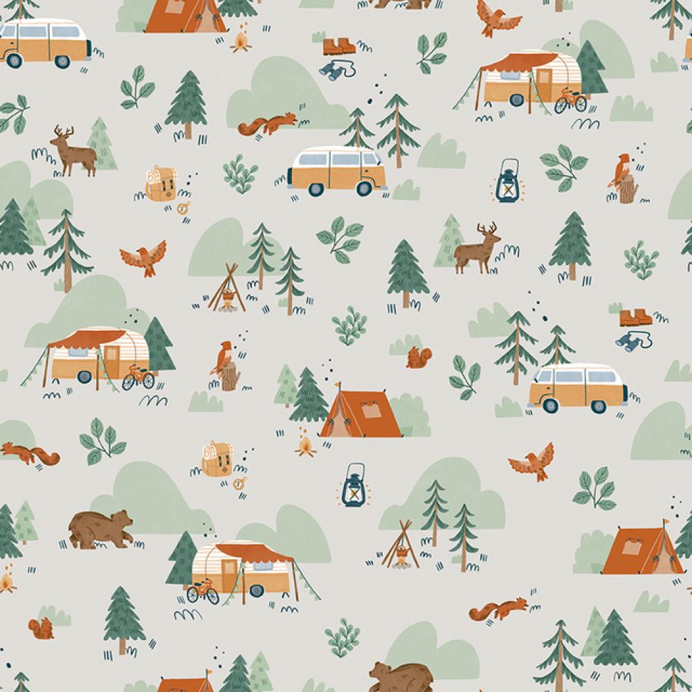 Baumwollstoff Camping Wald creme-weiß von Riley Blake 2021