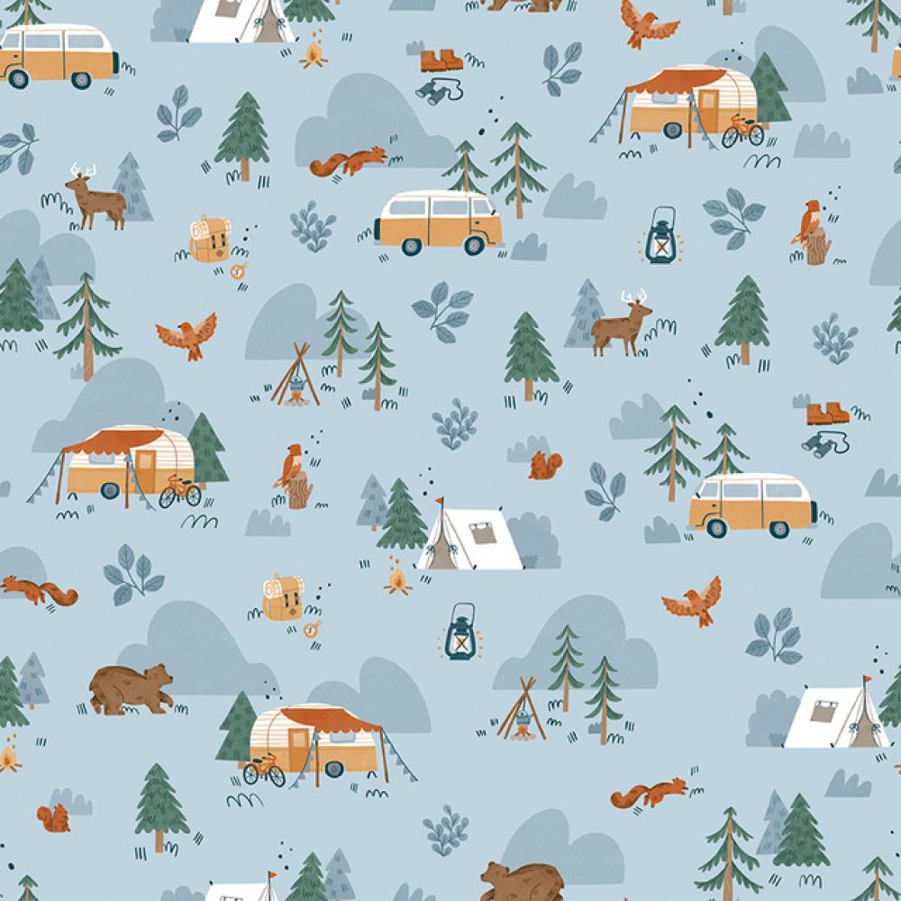 Baumwollstoff Camping Wald hellblau von Riley Blake 2021