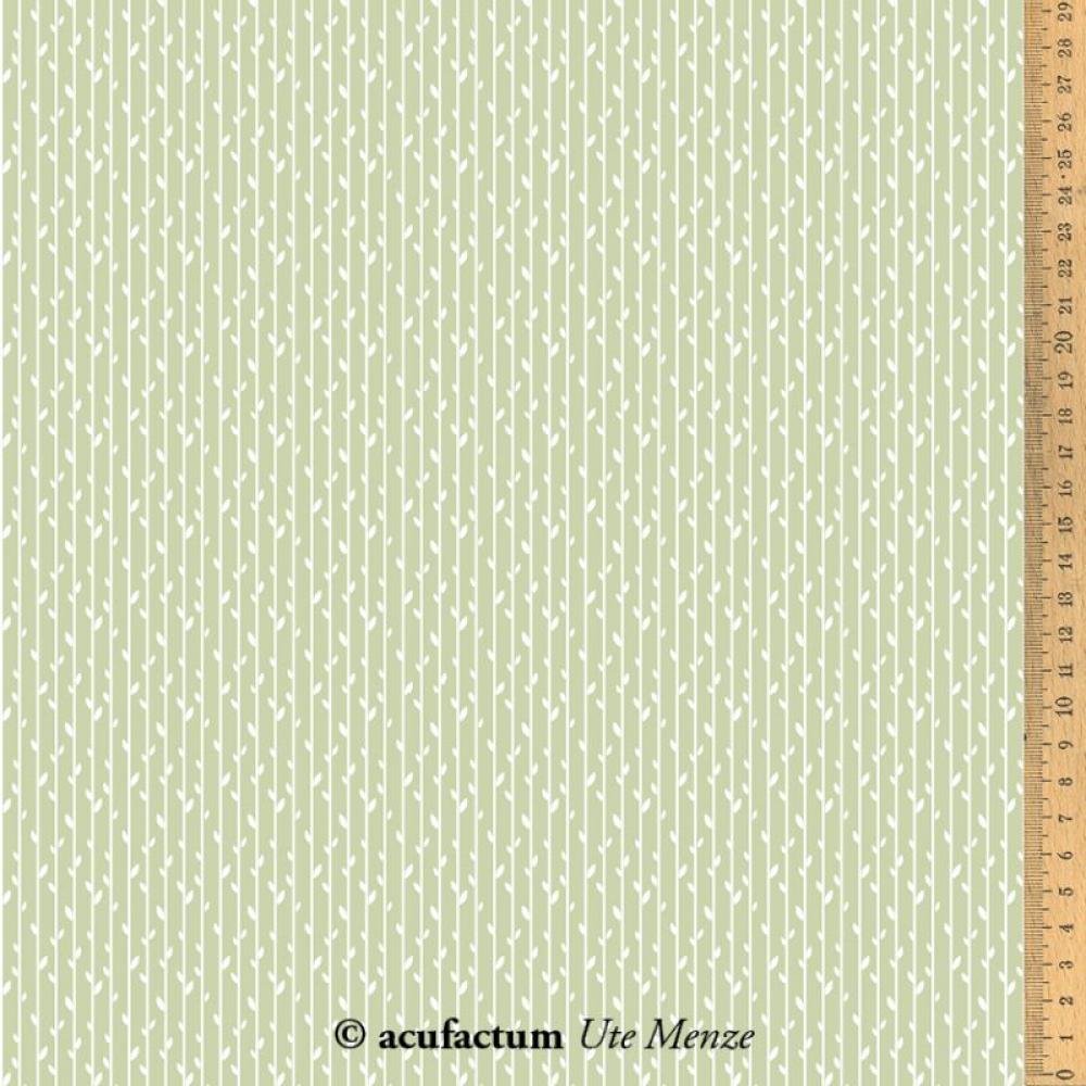 Baumwollstoff Blätterstreifen grün von acufactum 2021