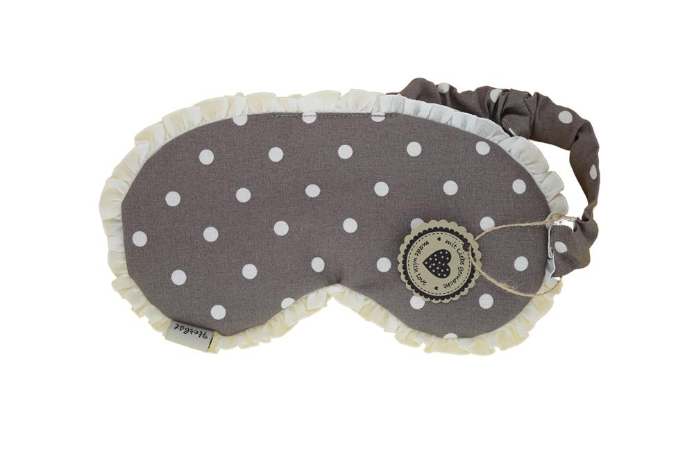 Augenmaske / Schlafmaske mit Amaranth taupe gepunktet mit Rüschen