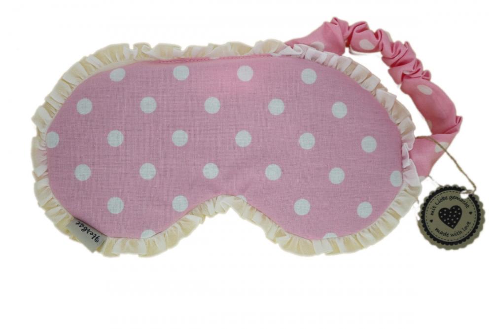 Augenmaske / Schlafmaske mit Amaranth rosa mit Rüschen