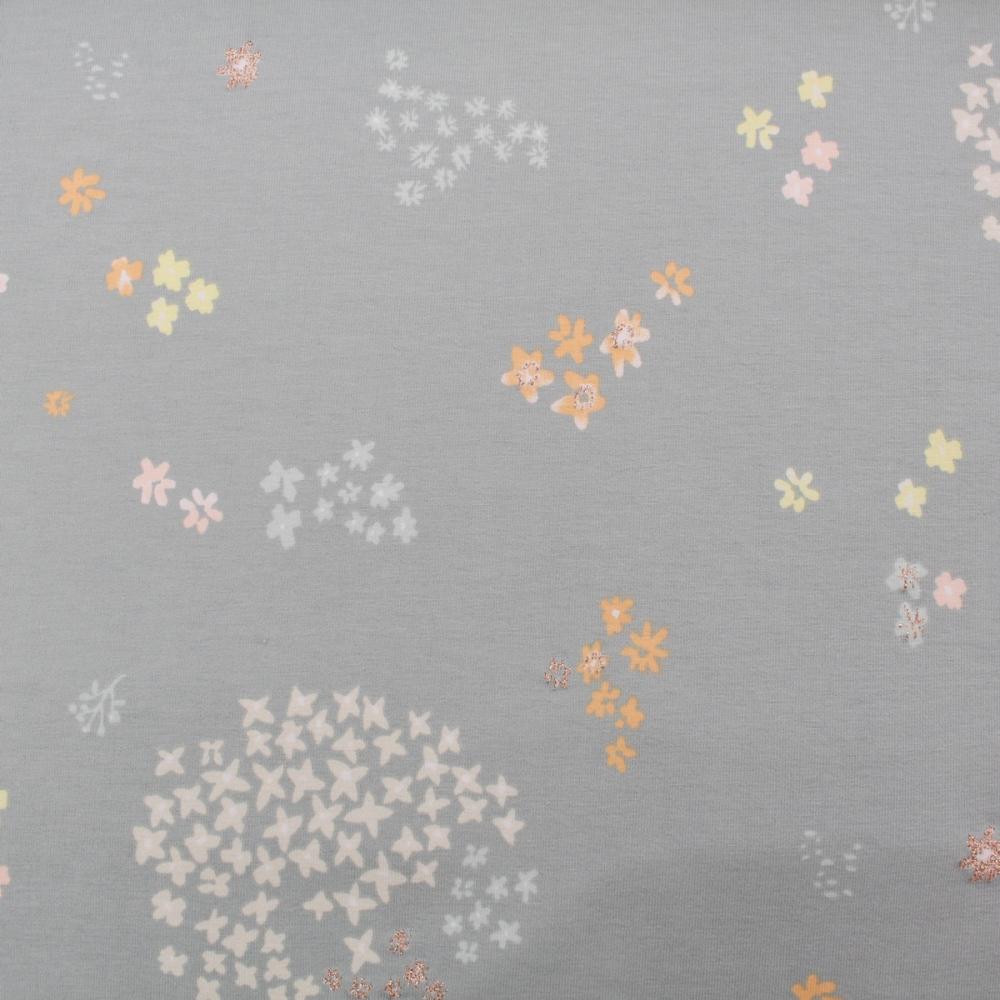 Jerseystoff Crafted Nature Blumen grau metallic