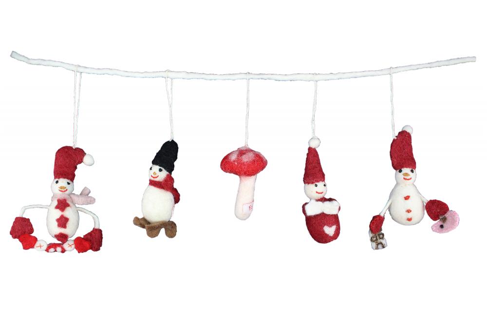 Anhänger Kette aus Filzfiguren mit Nikolaus & Schneemann